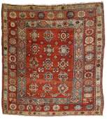 Handmade antique Turkish Melas square rug 5.8' x 6.1'