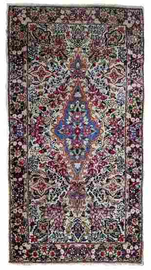 Handmade antique Persian Kerman rug 2.2' x 4.1' ( 67cm