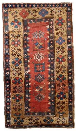 Handmade antique Caucasian Kazak rug 3.5' x 6.1' (106cm