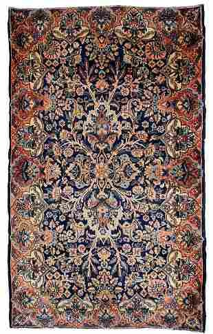 Handmade antique Persian Kerman rug 3.1' x 5.2' ( 94cm
