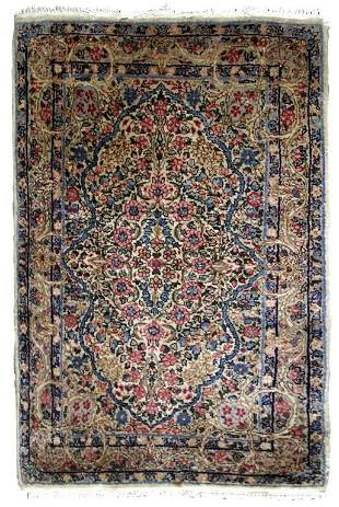 Handmade antique Persian Kerman rug 2.1' x 3.2' ( 64cm