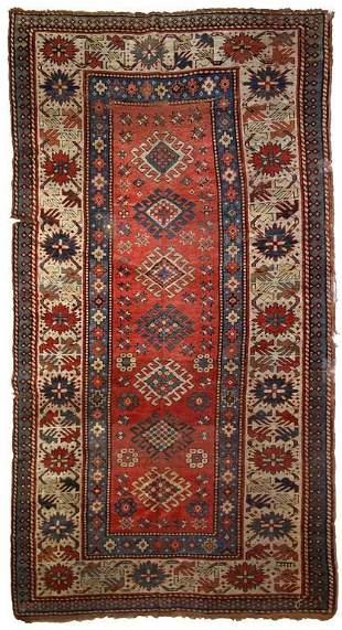 Handmade antique Caucasian Kazak rug 4.2' x 8.2' (128cm