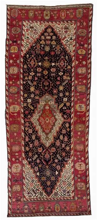 Handmade antique Caucasian Karabagh rug 4.5' x 11.6' (
