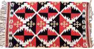 Handmade vintage Scandinavian Finnish kilim 1.8' x 3.4'