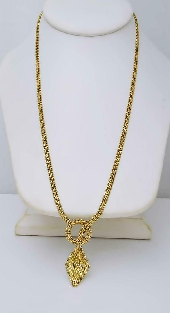 14K YELLOW GOLD LARIAT NECKLACE MESH DIAMOND CUT CHAIN