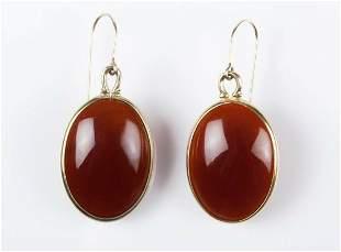 Carnelian Cabochon Bezel Set Earrings