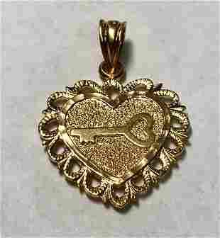 14 K Yellow /Rose Gold Key To My Heart Charm/Pendant