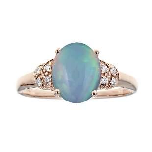 14K Rose Gold Ethiopian Opal & Diamond Ring