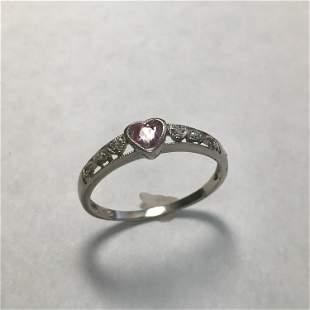 10 K White Gold Pink Sapphire & Diamond Heart Ring