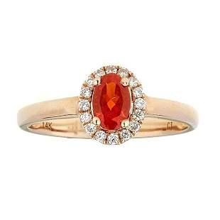 10K Rose Gold Fire Opal & Diamond Ring