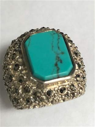 Sterling Silver Unisex Turquoise & Marcasite Ring