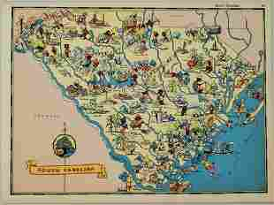 1938 R Taylor White Pictorial Map of South Carolina --
