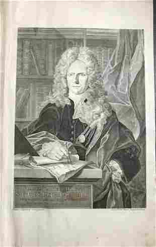 Striking portrait of Johann Baptiste Homann. From his