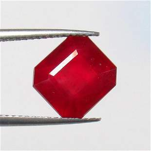 6.22 Ct Natural Mozambique Pinkish Red Ruby Octagon Cut