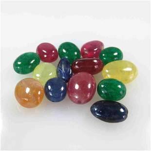 54.20 Ctw Natural 14 Ruby Sapphire Emerald Mixed Beads