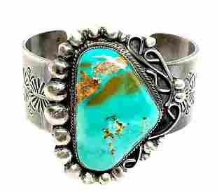 Large Navajo Pawn Royston Turquoise Cuff Bracelet