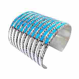 Zuni Ten Row Inlay Turquoise Cuff Bracelet
