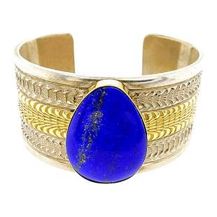 Lapis 14K Gold And Silver Cuff Bracelet