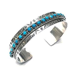 Zuni Turquoise Dotted Row Cuff Bracelet