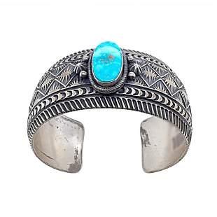 Kingman Turquoise Sunrise Spike Navajo Silver Cuff
