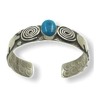 Navajo Bear Petroglyph Turquoise Bracelet