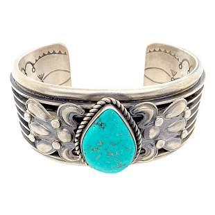 Navajo Royston Turquoise Teardrop Embellished Cuff