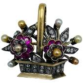 French Victorian Gold and Silver, Diamonds, Pearl and