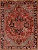 Antique Geometric Heriz Serapi Persian Area Rug 10x13
