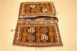 c1920s ANTIQUE SHRAZ QSHKAI CARGO BAG RUG 2.9x4.3