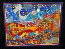Israeli Whimsical Painting War of Gideon Shlomo Katz