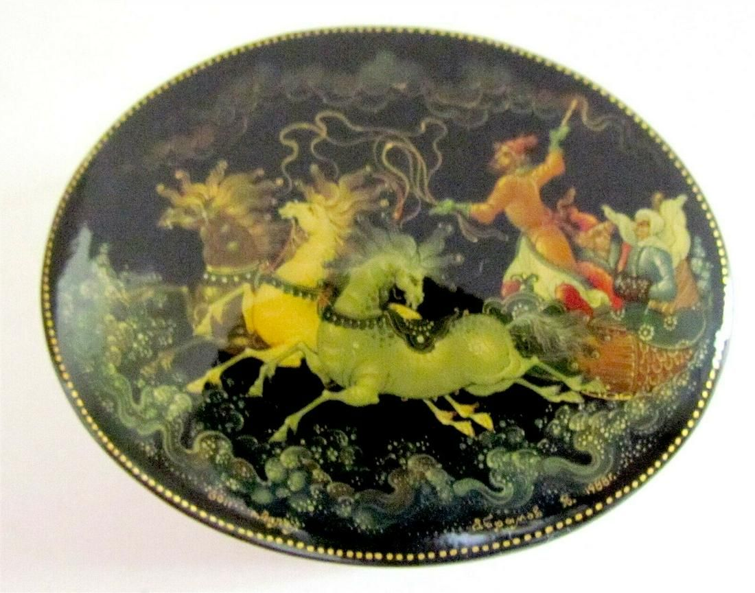 RUSSIAN PALEKH LACQUER BOX TROYKA handpainted SIGNED
