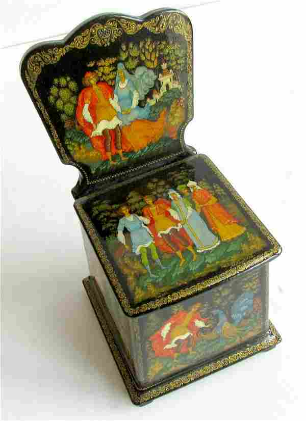 RUSSIAN LACQUER BOX PALEKH ALL SIDES HAND PAINTED RARE