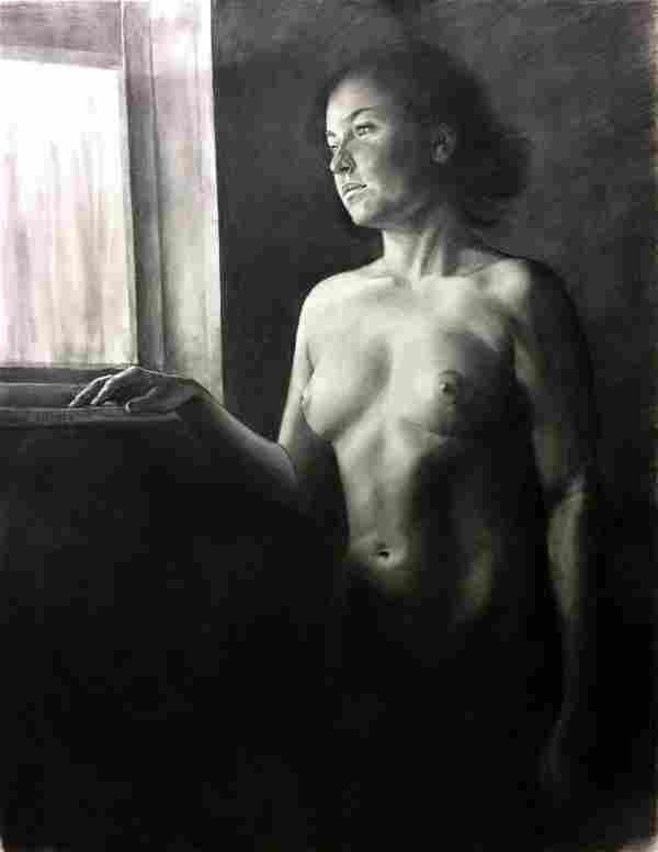 HI Charcoal Nude Painting Waiting Window Snowden Hodges