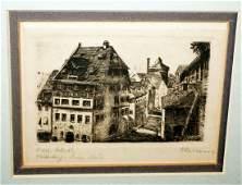 Vtg German Print Albrecht Dürer Haus in Nürnberg Hansen