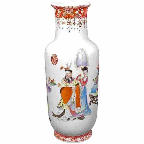 Chinese Republic Polychrome Vase Qianlong Mark