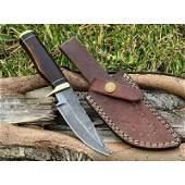 Handmade damascus steel knife hiking resin brass