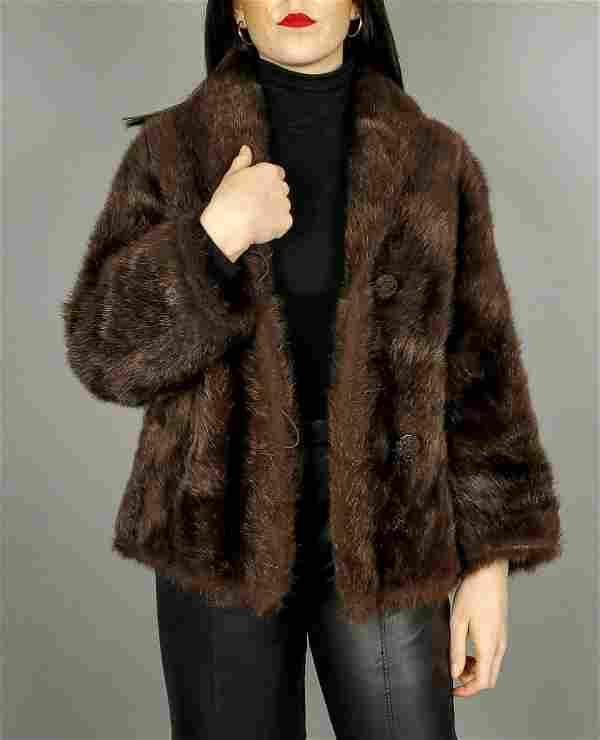 Brown Beaver Fur Jacket Size M