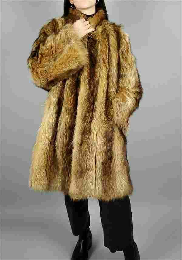Brown Raccoon Fur Coat Size Xl