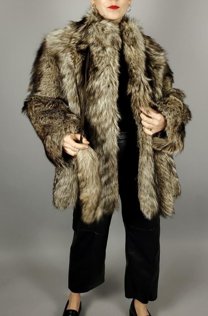 Brown Fox Fur Jacket Size L