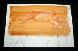 Hawaii Wash Painting Reclining Male Nude Snowden Hodges