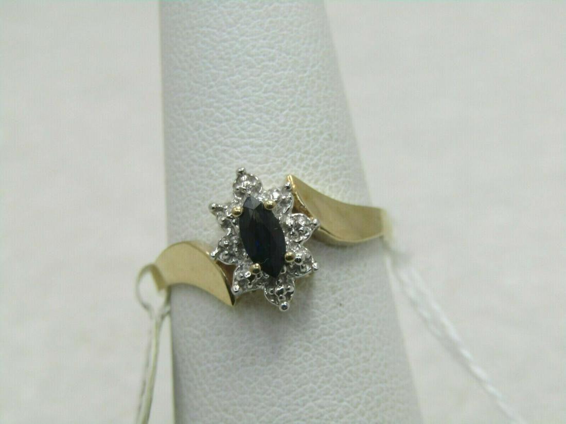10kt Sapphire & Diamond Ring, Art Deco Themed, Size