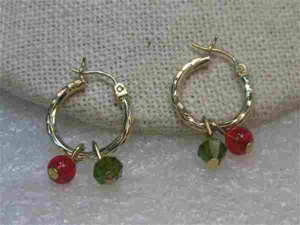 14kt Gold Hoop Earrings, Diamond Cut Accent, Crystal