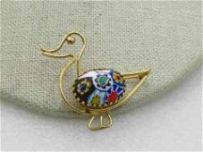 Vintage 12kt G.F. Venetian Glass Duck Brooch, Signed