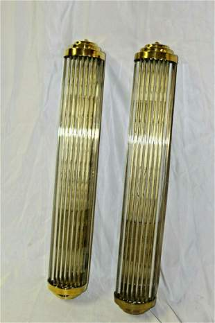 Art Deco Glass Rod Sconces , Hi-polished Brass finish