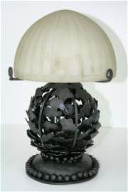 Art Deco Lamp ,forged Iron base ,Acid cut frosted shade