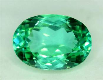 14.90 carats Oval Cut Eye Clean Lush Green Spodumene