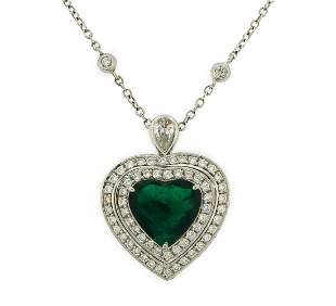 4.47-ct Emerald 1.59 cts Diamond White Gold Heart