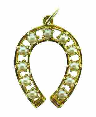 RETRO 14k Yellow Gold & Pearl Horseshoe Pendant
