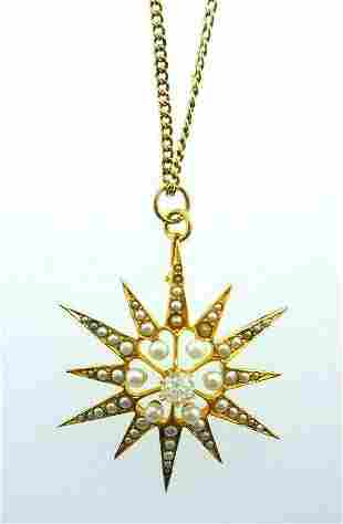 ANTIQUE 18k Yellow Gold, Pearl & Diamond Star Motif