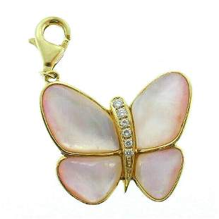 18k Yellow Gold Diamond Pink Pearl Butterfly Charm